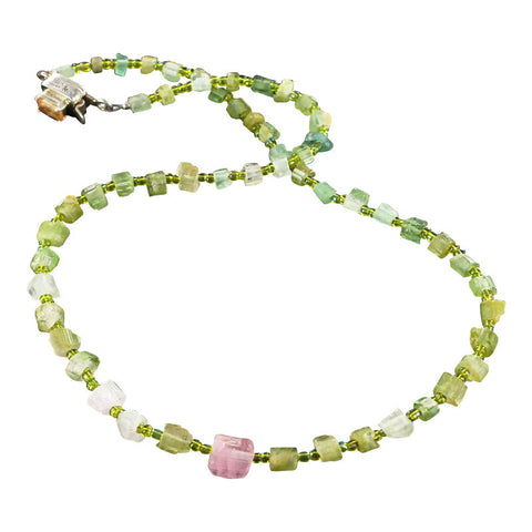 "TOURMALINE CRYSTAL BEADS NECKLACE GREEN PINK 16.25"" - New World Gems - 1"