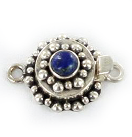 LAPIS CLASP STERLING SILVER ROUND 6mm - New World Gems