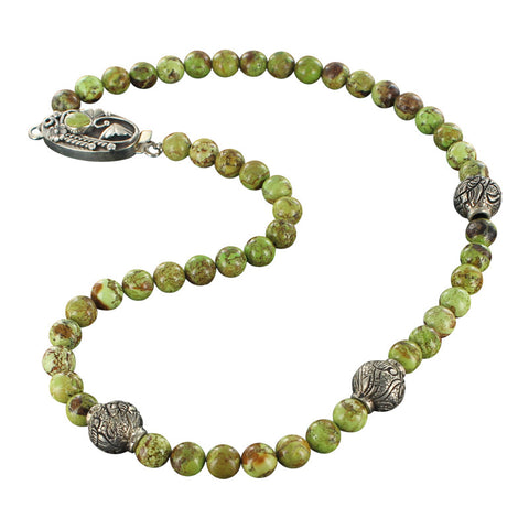 "GASPEITE and STERLING BEADS NECKLACE ROUND 8mm 18"" - New World Gems - 1"