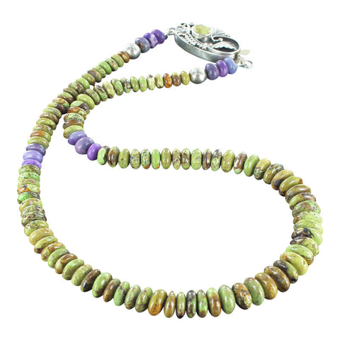 "GASPEITE and SUGILITE RONDELLE BEADS NECKLACE STERLING 17.5"" - New World Gems - 1"