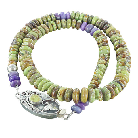 "GASPEITE and SUGILITE RONDELLE BEADS NECKLACE STERLING 17.5"" - New World Gems - 2"