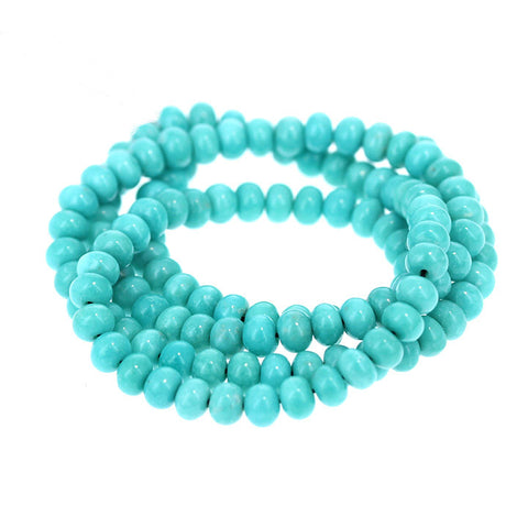 MEXICAN TURQUOISE BEADS 5mm Glassy Blue AAA