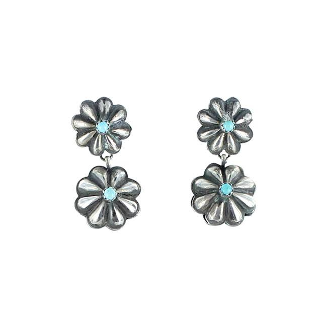 "SLEEPING BEAUTY TURQUOISE FLORAL EARRINGS 1.5"" - New World Gems"