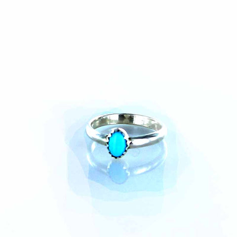 RING Sleeping Beauty Turquoise Oval Sze 6.5 - New World Gems - 2