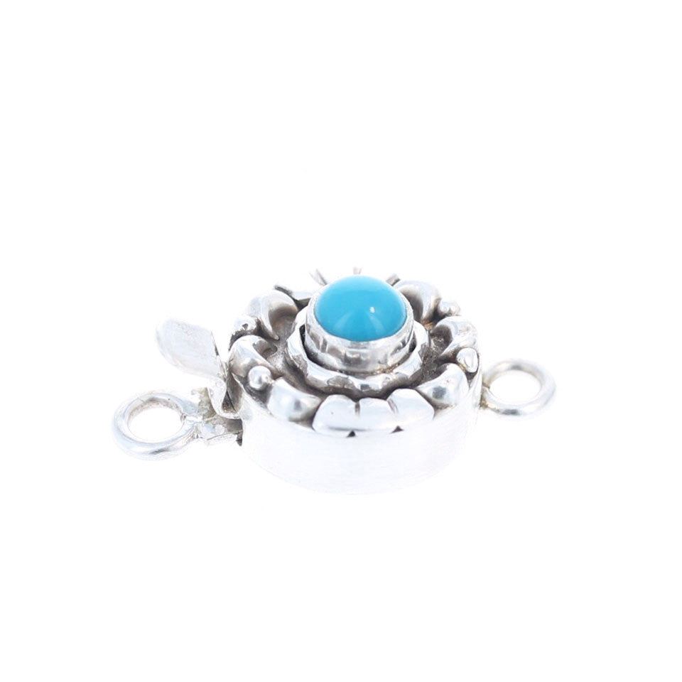 SLEEPING BEAUTY TURQUOISE Clasp Sterling Moon Petal 5mm Deep Blue