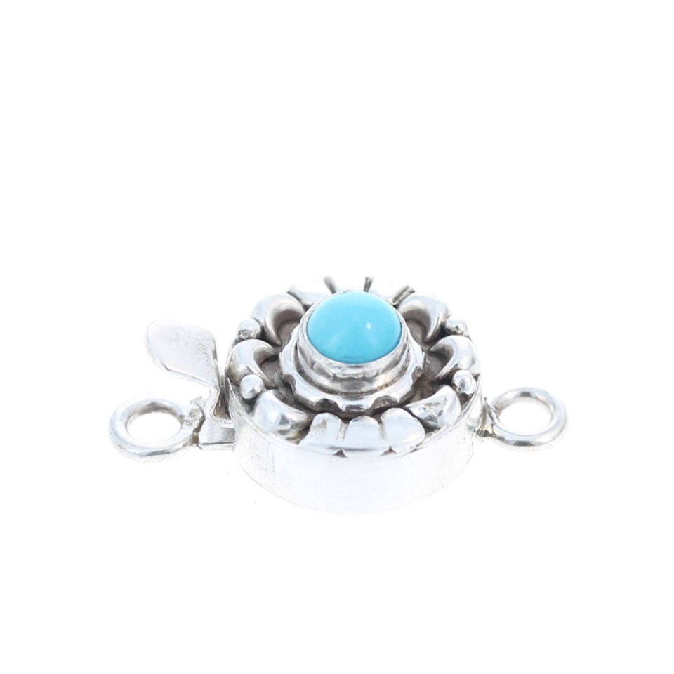 SLEEPING BEAUTY TURQUOISE Clasp Sterling Moon Petal 5mm Sky Blue