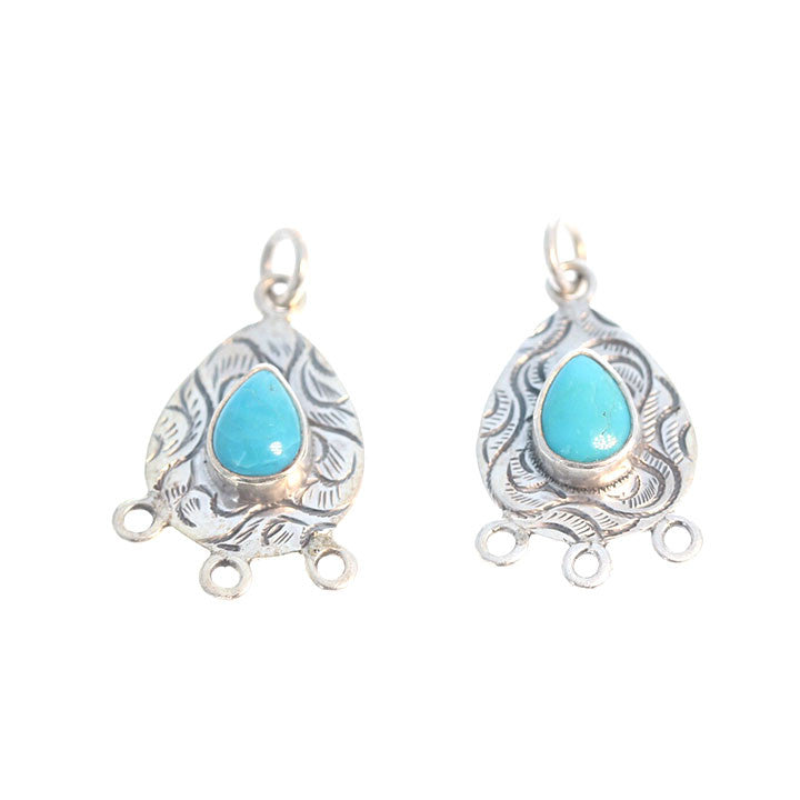 SLEEPING BEAUTY TURQUOISE EARRING COMPONENTS SET of 2