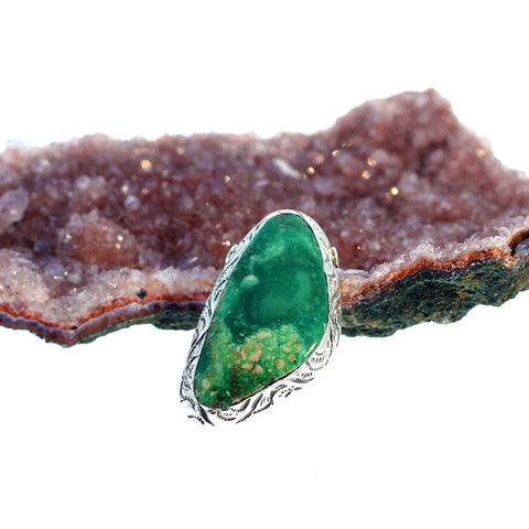 VARISCITE Sterling Pendant Centerpiece Deep Green Sterling
