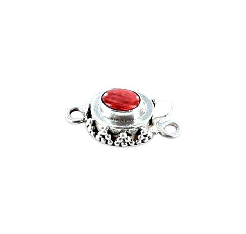 SPINY OYSTER CLASP Red Sterling Oval 6x8mm Granulated - New World Gems