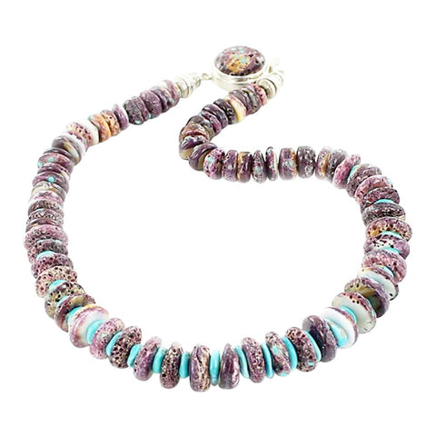 "Mens PURPLE SPINY OYSTER Turquoise Necklace 18"" - New World Gems - 1"