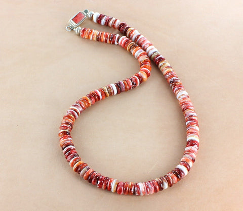Mens Red/Orange SPINY OYSTER Sterling Silver Necklace Southwest 6mm