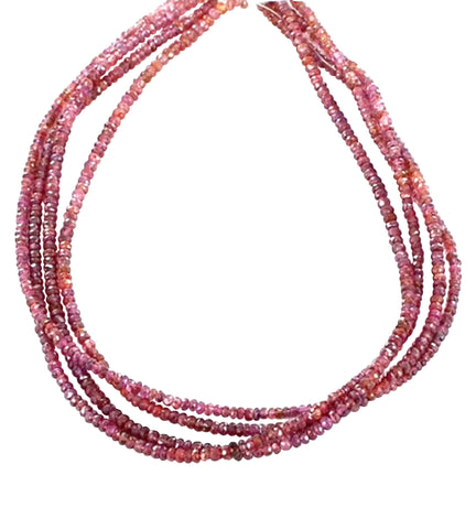 "MAGENTA RED FACETED SPINEL RONDELLE BEADS 3.5-4mm 14"" - New World Gems - 1"