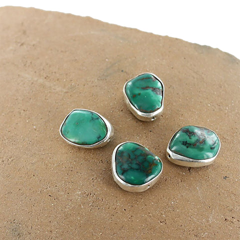 Sterling Rimmed Turquoise Beads Emerald Green - New World Gems
