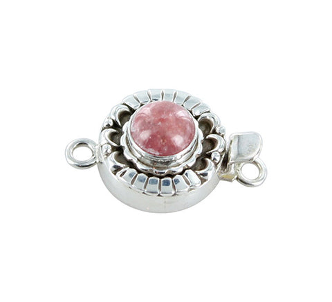 RHODOCHROSITE CLASP Sterling Moon Petal Design 10mm Round - New World Gems