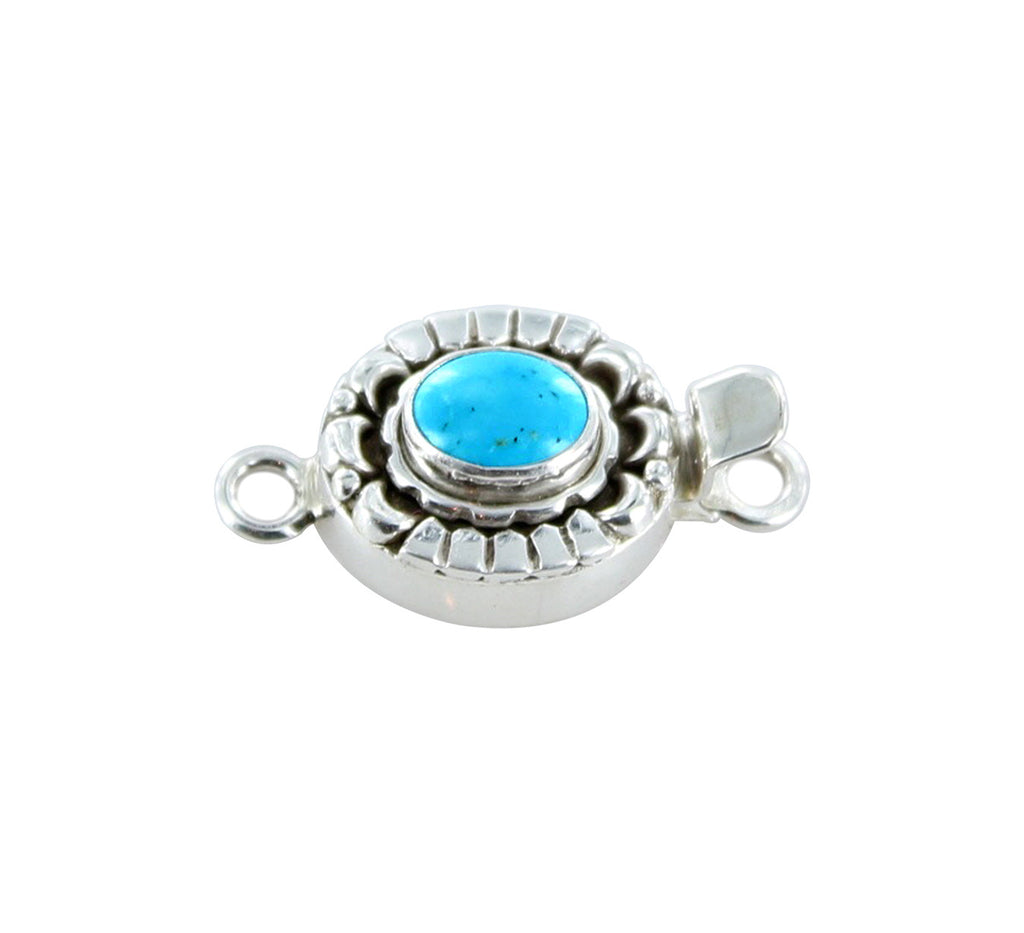 KINGMAN TURQUOISE CLASP Sterling Moon Petal Design 7x9mm - New World Gems