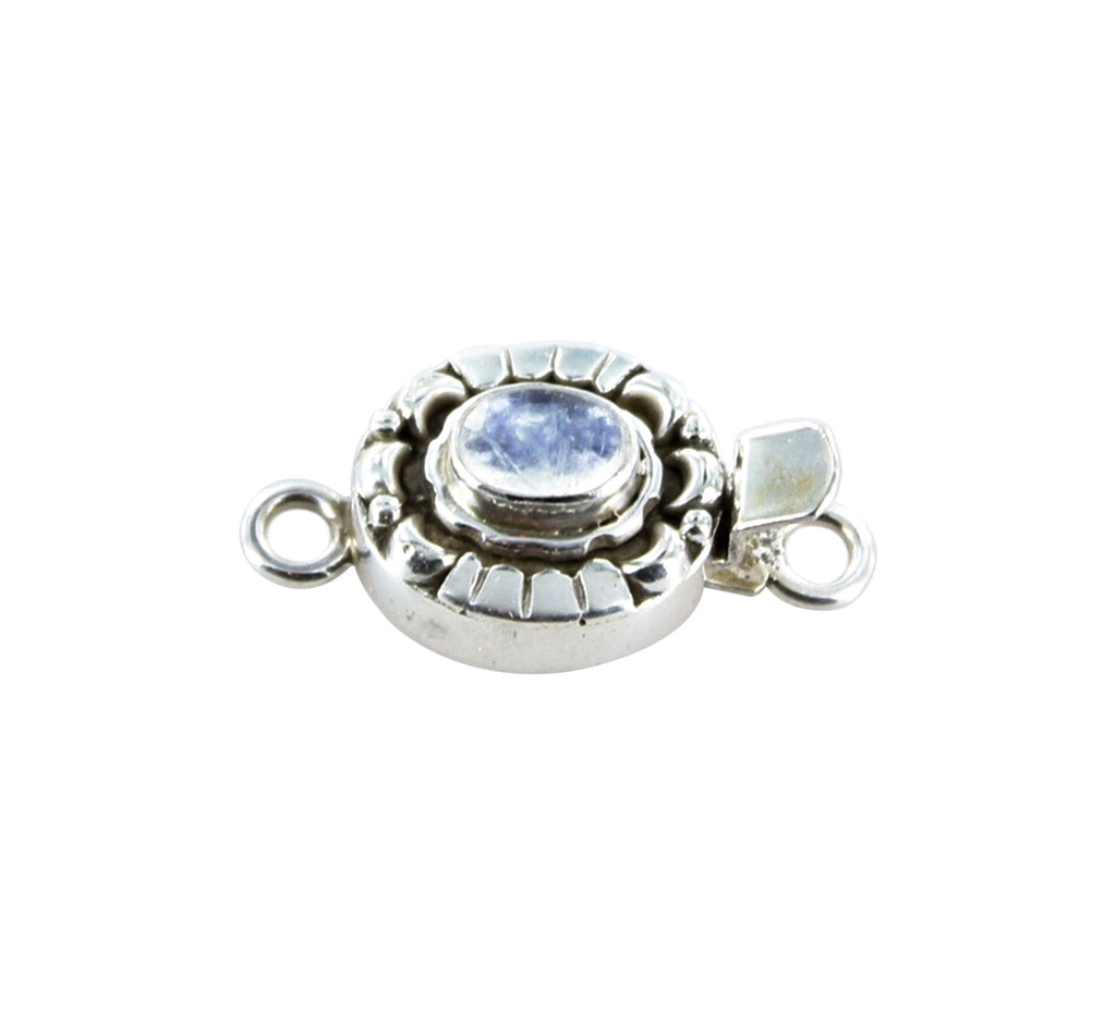 RAINBOW MOONSTONE CLASP Sterling Moon Petal Design 6x8mm - New World Gems