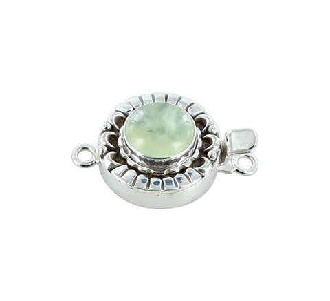 PREHNITE CLASP Sterling Moon Petal Design 12.5mm Round - New World Gems