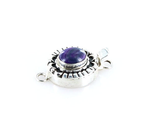 SUGILITE CLASP Sterling Moon Petal Design 10.5x8.8mm Royal Purple - New World Gems