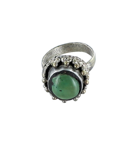 TIBETAN TURQUOISE RING BRASS SILVER - New World Gems - 1