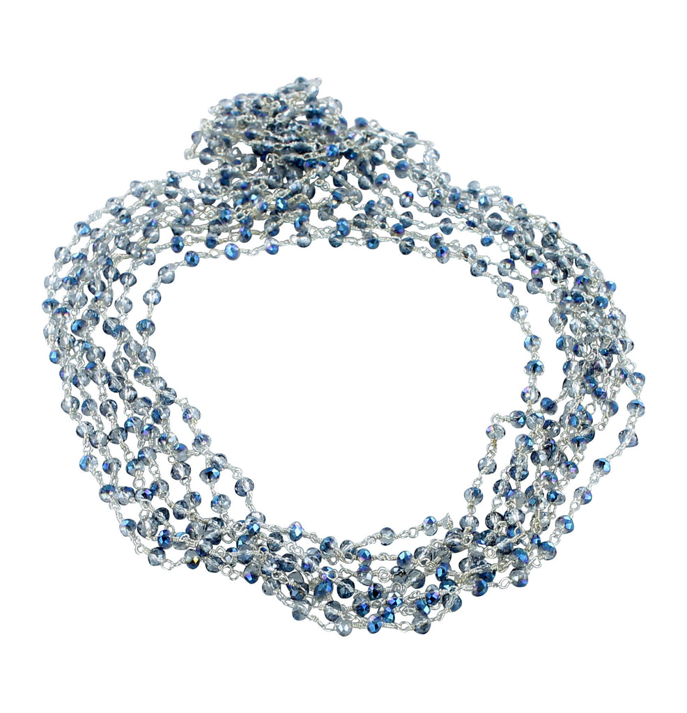 "Faceted Topaz Beads Chain Mystic Blue 16"" - New World Gems"