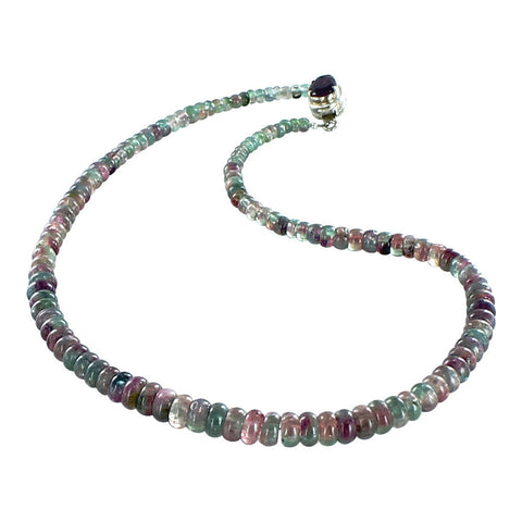 "TOURMALINE RONDELLE BEADS NECKLACE WATERMELON STERLING 17"" - New World Gems - 1"