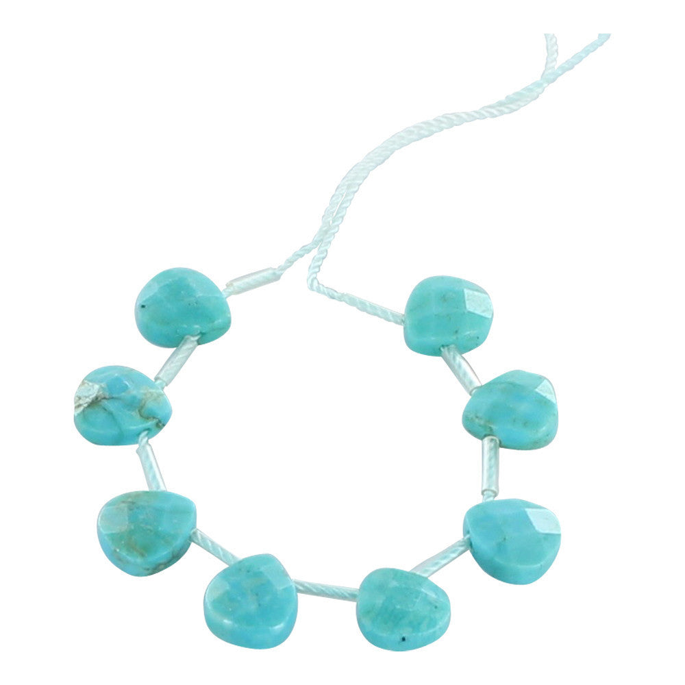 CHINESE TURQUOISE BEADS FACETED BRIOLETTES 8x9mm - New World Gems
