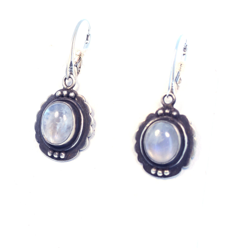 RAINBOW MOONSTONE EARRINGS Sterling Blue Flash 1.25""