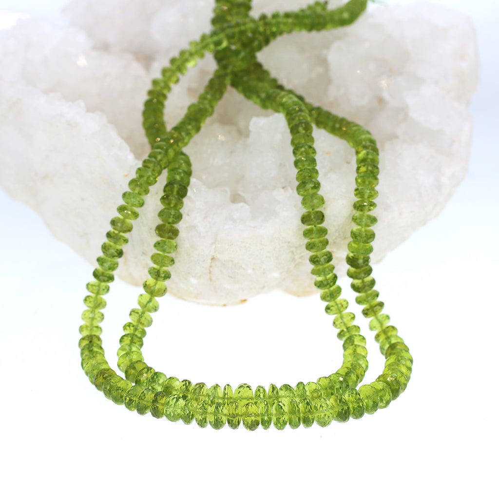 PERIDOT BEADS FACETED GRADUATED RONDELLE 5.5-8mm