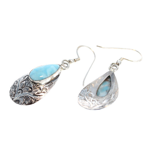 LARIMAR STERLING EARRINGS ETCHED TEARDROPS #2