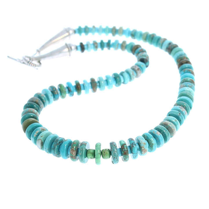 CARICO LAKE TURQUOISE BUTTON BEADS NECKLACE LARGE 16.25""