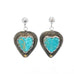 Kingman Turquoise Hearts and Sterling Earrings Large
