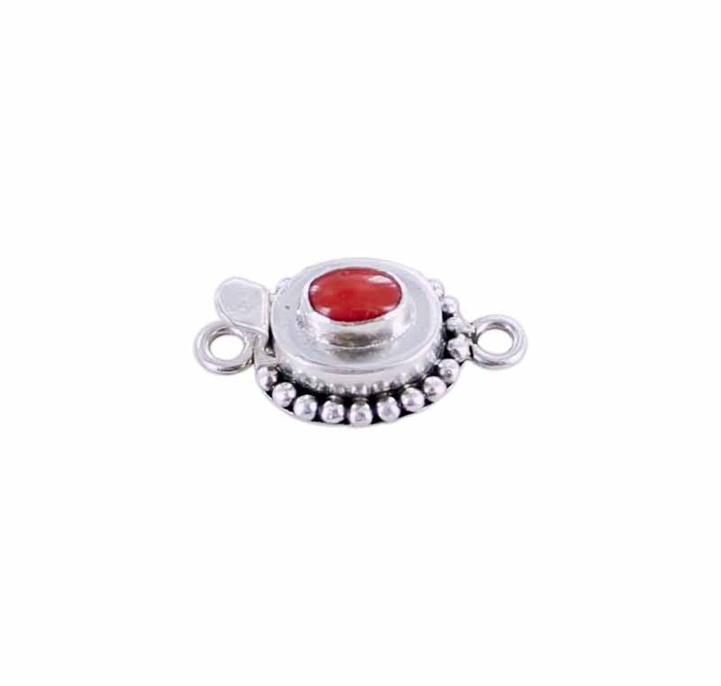 Red Coral Clasp Sterling Oval 7x5mm Dot Design