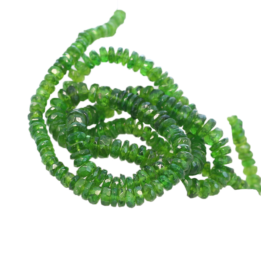 CHROME DIOPSIDE BEADS Faceted Rondelles Graduated 3-5mm