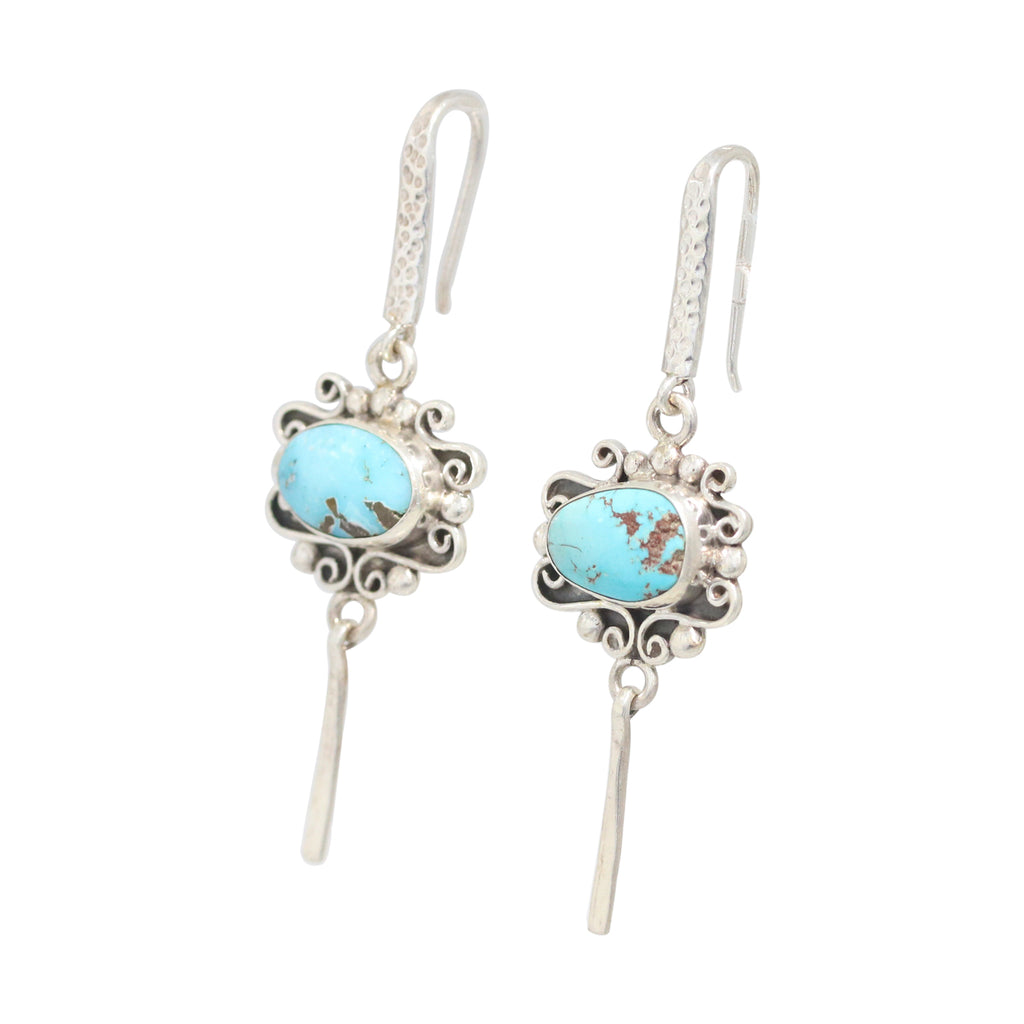 Sky Blue Carico Lake Turquoise Earrings Sterling Scroll Design