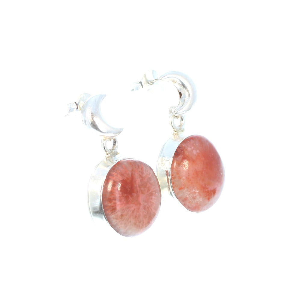 Utah CORAL Moon Earrings Sterling Silver Posts