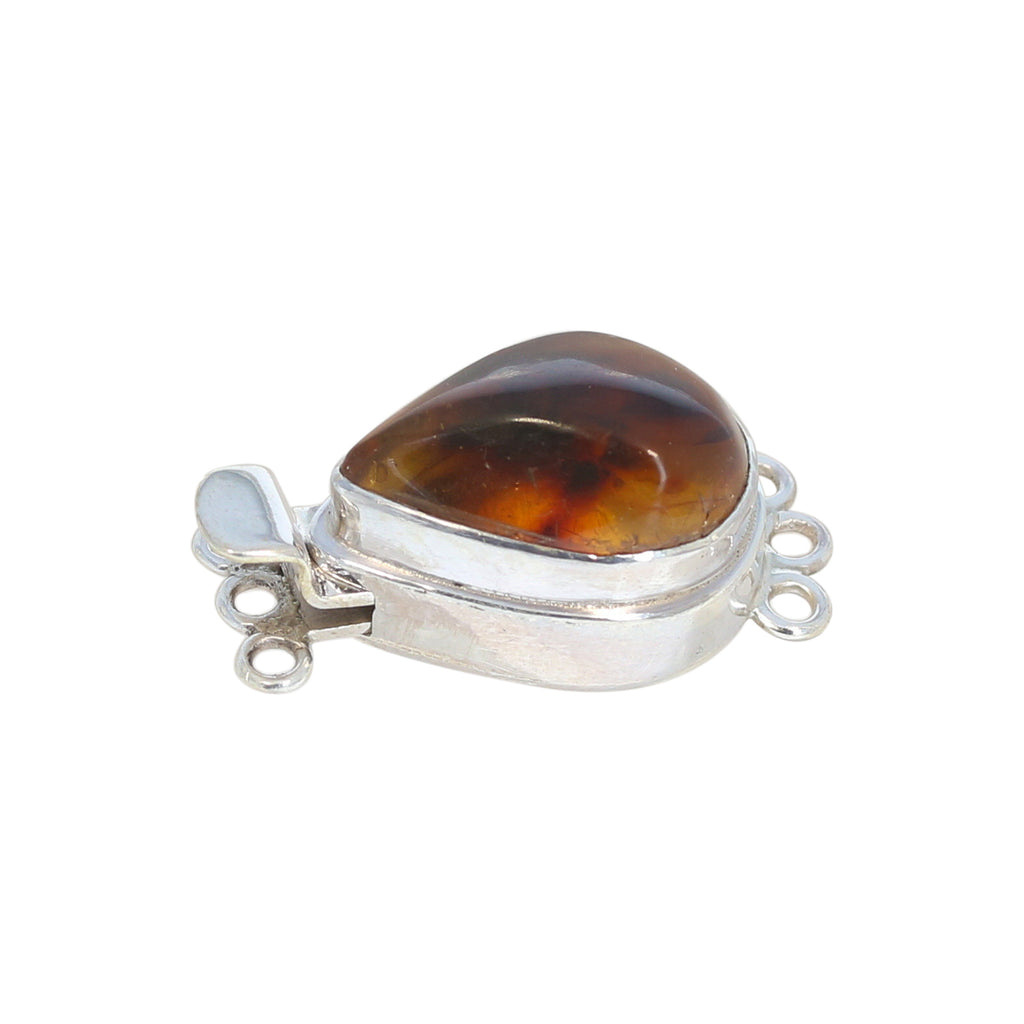 BALTIC AMBER CLASP Sterling 3 Strand