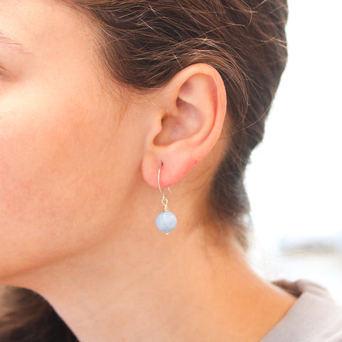 Blue Owyhee Opal Earrings Sterling Silver 10mm Round Hoop