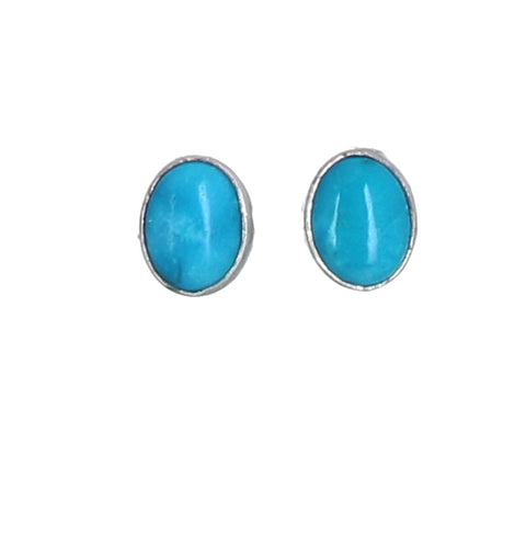 Sonoran Rose Turquoise Earrings Bright Blue Sterling Oval Posts