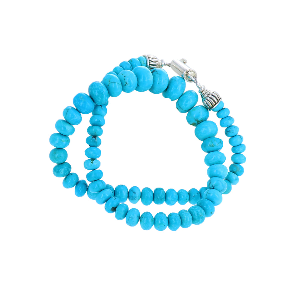 KINGMAN TURQUOISE Rondelle Beads Necklace Southwest Elegance