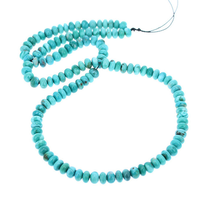 FOX TURQUOISE BEADS 6mm Bright Teal Rondelle 18""