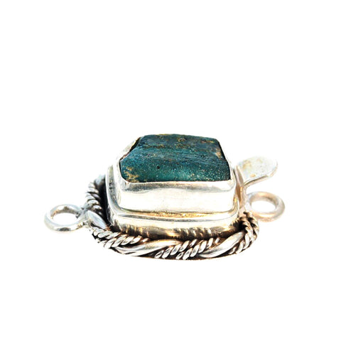 ANTIQUE ROMAN GLASS Sterling Silver Clasp Twist Wire Teal