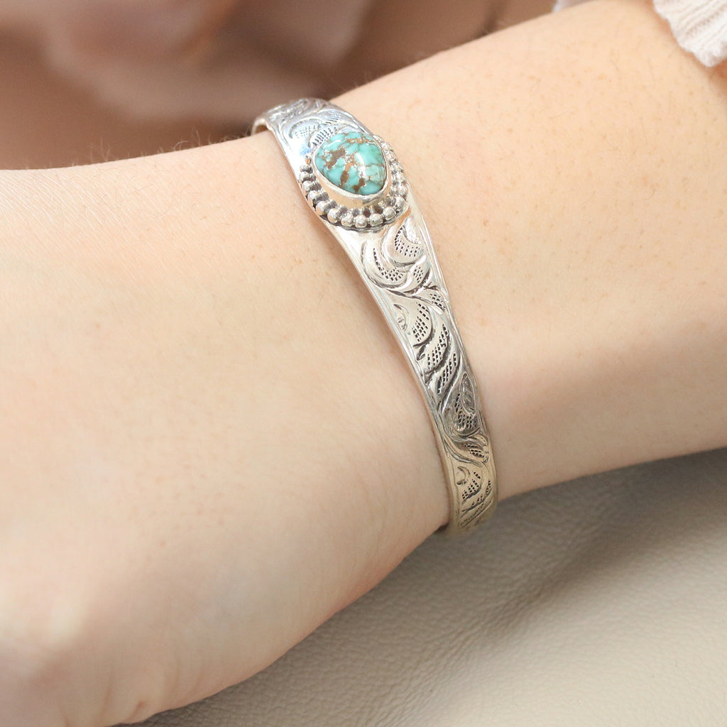 CARICO LAKE TURQUOISE Bracelet Sterling Cuff Blue Matrix