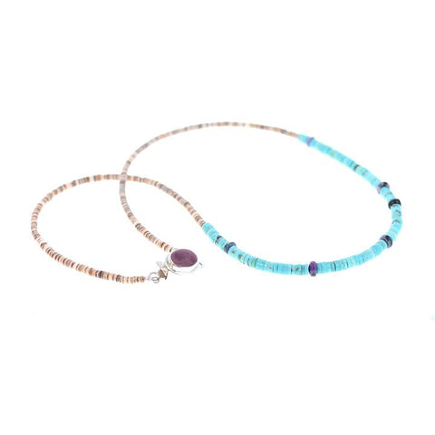 NECKLACE  KINGMAN Turquoise, Sugilite and Shell 20""