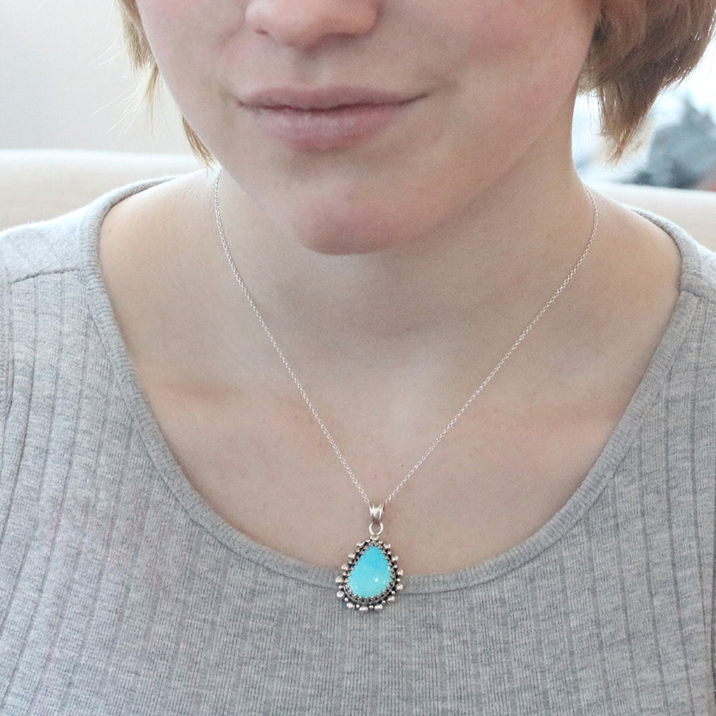 "SLEEPING BEAUTY TURQUOISE Pendant Necklace 18"" Teardrop"