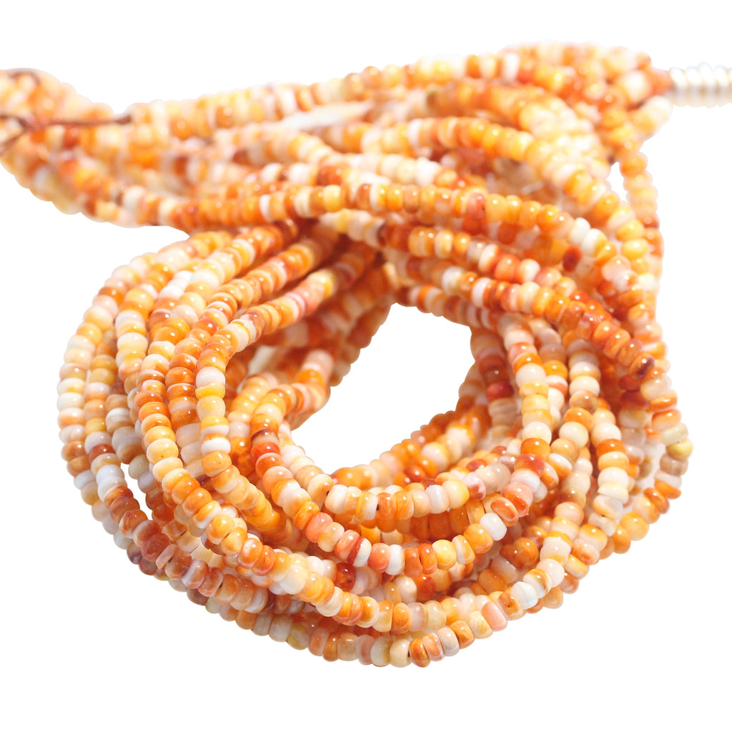 Light ORANGE SPINY OYSTER Beads Rondelles 3.5mm 16""
