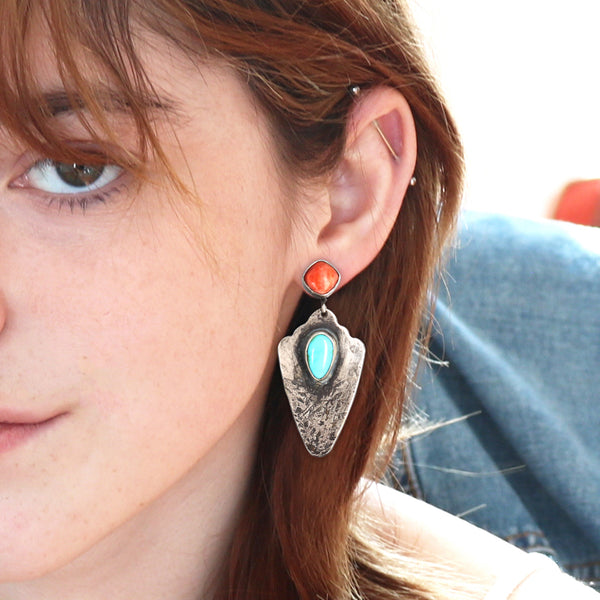 Sterling Silver Arrowhead Earrings with Turquoise and Spiny Oyster