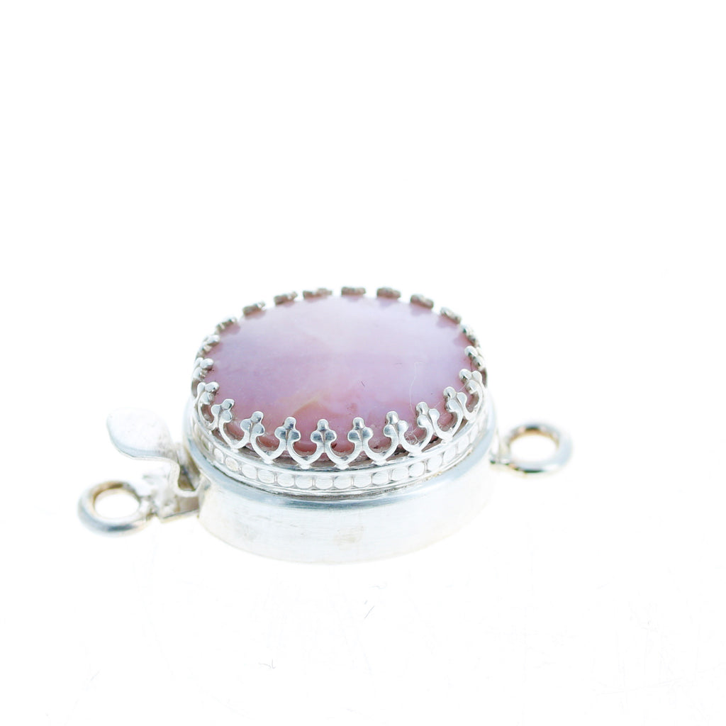 Pink Peruvian Opal Clasp Large Oval Sterling 18x14mm