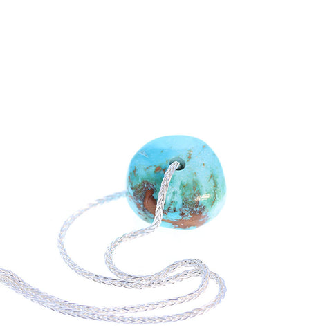 TURQUOISE PENDANT NECKLACE Sterling Nevada Turquoise Blue 16""