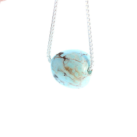 TURQUOISE PENDANT NECKLACE Sterling Nevada Turquoise Ice Blue 16""