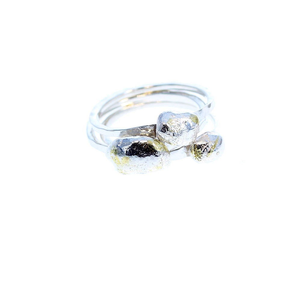 Ring Set of 3 Stackable Pebble Shape Sterling and 22K Gold